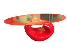 OVAL GLASS TOPPED COFFEE TABLE CONTEMPORARY RED UNUSUAL