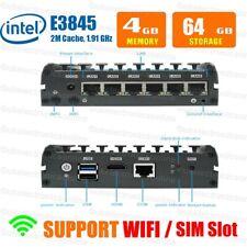 Fanless Mini PC Intel ATOM E3845 4G RAM/64G SSD 6 LAN Port pfSense Firewall VPN