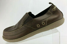 Crocs Harborline Loafers Brown Leather Casual Moc Toe Comfort Shoes Mens Size 9