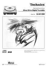 Technics SL-DZ1200 Turntable Owners Instruction Manual Reprint