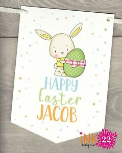 Personalised Bunny Happy Easter Party Decoration Banner Bunting flags sign