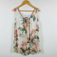 Blossum Italian Design Womens Short Dress Size 1X (AU 10-12) Floral 100% Silk