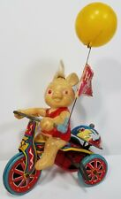 Suzuki Windup Celluloid Bunny Rabbit Tin Tricycle Bell Toy Happy Days