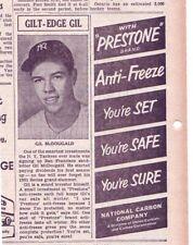 1952 newspaper ad for Prestone - New York Yankees baseball player Gil McDougald