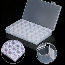 Plastic 28 Slots Empty Nail Art Glitter Jewelry Organizer Beads Storage Box Case
