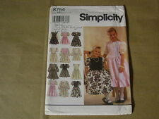SIMPLICITY 8754 CHILDS' & GIRLS' DRESS IN 2 LENGTHS. SIZE NN. (8,10,12,14). NEW