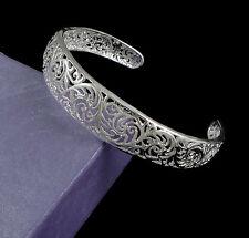 Damen Armband 925 Silber beschichtet Filigran Ornament Armreif Einstellbar NEU