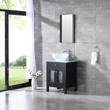 "24"" Wood Bathroom Sink Vanity Cabinet Round Bowl Modern Single Faucet w/Mirror"