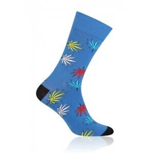 LEAVES Mens Coloured Cotton Rich Socks, Colourful Socks, Fun Socks