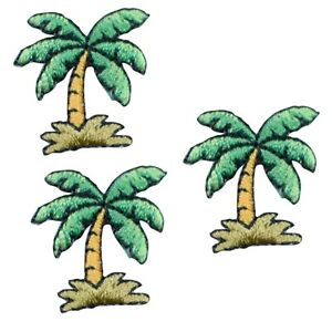 """Mini Palm Tree Applique Patch - Tropical, Beach Badge 7/8"""" (3-Pack, Iron on)"""