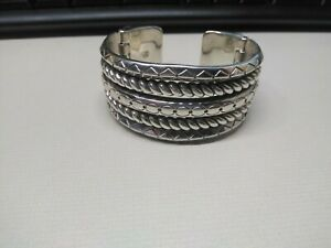 Brighton Silver Plated Ropes Rings Etched Wide Hinged Open Cuff Bracelet Heart