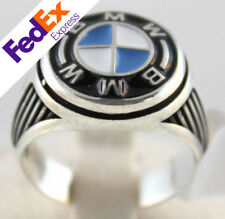 BMW Symbol Blue Enamel Turkish Handmade 925 Sterling Silver Men's Ring All Sizes
