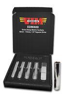 Vim Tools VIM-EDM400 1/4 Square Drive Extra Deep Metric Sockets, 8mm - 14mm
