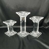 SHANNON Crystal Designs Of Ireland - Set Of 3 - Candle Holders - HEAVY