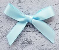 Baby Blue Small Mini Satin Ribbon Bows Ready Made 7mm Wide Arts & Craft Sewing