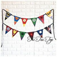 💥 Superhero Banner Bunting Flag Party Supplies Logo Symbol Lolly Loot Deco Bag