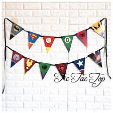 💥1x Superhero Banner Bunting Flag Party Supplies Logo Symbol Lolly Loot Bag