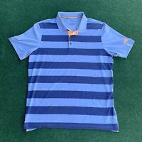 adidas Golf Shirt Mens Size Large Blue Orange Polo A2B001