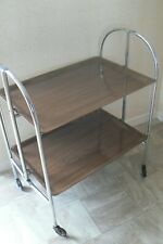 Vintage Folding Tea Trolley Chrome Melamine 1970's