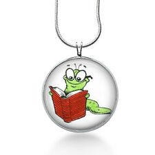 Bookworm Necklace-book necklace-teacher gift,librarian gift,book lover gift