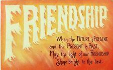 C.1908 Williamson-Haffner Postcard Poem Friendship Flames American Series F31