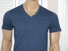 Armani Exchange Authentic Pima V Neck T Shirt Heather Blue NWT