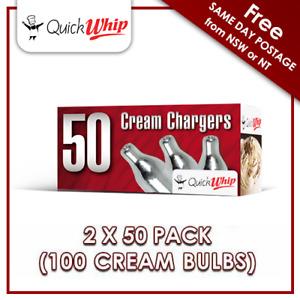 QuickWhip 8g N20 Bulbs - 50 PACK X 2 (100 CREAM CHARGERS) Pure Nitrous Oxide