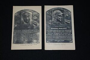 Lot of 2 Diff Artvue White Hall of Fame Plaque Post Cards-Babe Ruth, R. Hornsby