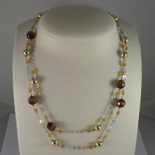 .925 SILVER RHODIUM NECKLACE WITH TIGER EYE, YELLOW CRYSTALS AND GOLDEN BALLS