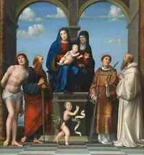 Francesco Francia LA VERGINE E BAMBINO CON Saint Anne e altri santi stampa in A4
