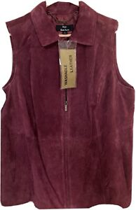 Dennis by Dennis Basso Washable Red Leather Suede Women's Vest Size 1X-NWT