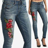 TheMogan Red Floral Rose Embroidered Patch Raw Hem Mid Rise Crop Skinny Jeans