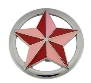 Classic Pink Red Star Belt Buckle Metal Plain Finished Punk Heavy Rock Unisex