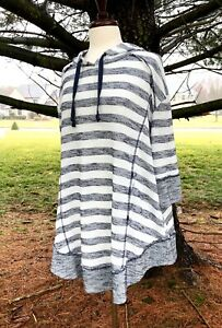 Free People Striped Hooded Swing Sweater Oversized Pullover Swing Bottom S NEW