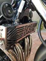 YAMAHA XJR1300 BLACK MIRROR POLISH STAINLESS STEEL OIL COOLER RADIATOR COVER R04