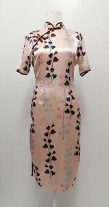 Neu Damen kurzarm Kleid rosa chinesisches Stil Herz Größe M 34266