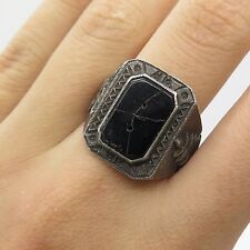 Asia Antq 925 Sterling Silver Real Black Onyx Gemstone Dragon Men's Ring Size 9