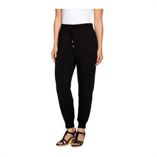 Whitney Port Pull On Jogger Pants With Pockets Size Plus 24 Black Color