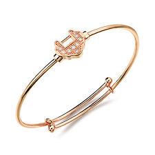 18K Rose Gold Plated Bracelet  Bangle Hearts AAA Cubic Zirconia Women's G135
