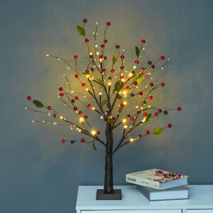 Halloween Xmas Tree with Red Berries Decorations Lights Battery Operated Gift UK