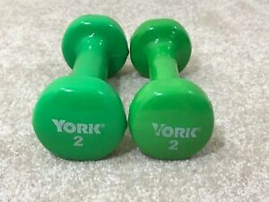 2lb YORK Green Dumbbell Set (4lbs total) Hand Weights Rubber Coating