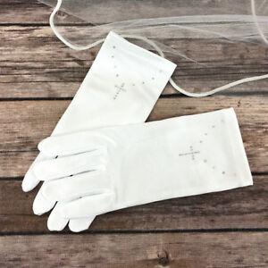 Girls White First Holy Communion Wrist Gloves Rhinestone Cross Satin Age 4-12