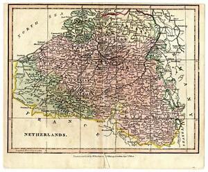 1804 Copper Engraving Hand Colored Map Netherlands France Darton & Harvey