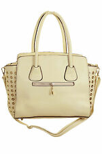 NEW Ladies Girls Faux Leather Shopper Bag With Gold Eyelets Light Beige