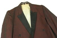 Vintage 50s Heather Maroon Red Smoking Jackiet Blazer Mens 42 Tuxedo