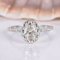 Fashion Rings for Women 925 Silver Jewelry Oval Cut White Sapphire Size 6-10