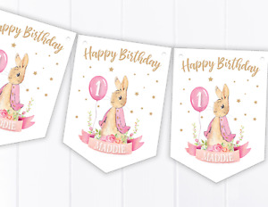 Personalised Peter Rabbit Flopsy Bunny Happy Birthday Bunting - Pink - 1st 2nd