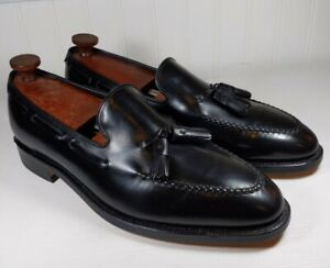 Johnston & Murphy Crown Aristocraft Black Calf Tassel Loafer Size 11.5 D Made In