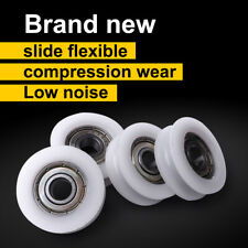 4pcs 4*15*6mm U Groove Metal Shield Nylon Pulley Wheels Roller Ball Bearings