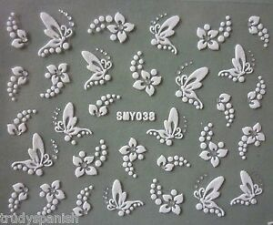 3D Nail Art Stickers Decals WHITE SILVER Flowers Butterflies Rhinestone (38)